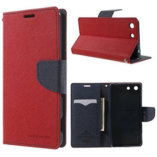 J.N. Mercury Fancy Diary Wallet Flip Case Back Cover for Sony Xperia M5 - Red 1