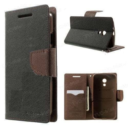 Kapa Mercury Goospery Flip Wallet Case Cover for Moto G2 (2nd Gen) - Black/Brown 3