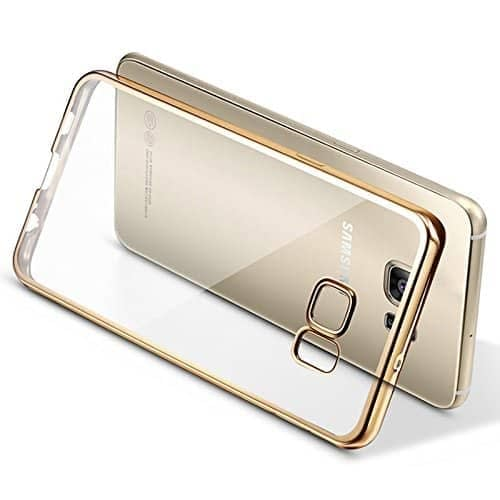 Meephone Noble Electroplated Edge Clear Hard Back Case Cover for Samsung Galaxy S7 - Gold 1