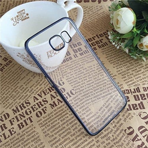 Meephone Transparent Hard Plastic Back Cover Case for Samsung Galaxy S6 Edge S6Edge ( Blue Lining ) 1