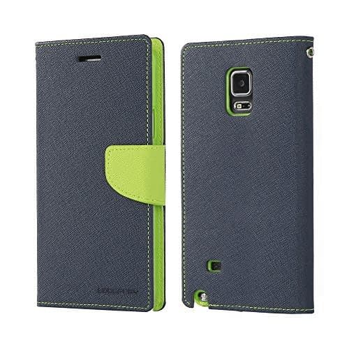 Mercury Goospery Fancy Diary Wallet Case Cover for Samsung Galaxy Note 4 - Blue/Green 1
