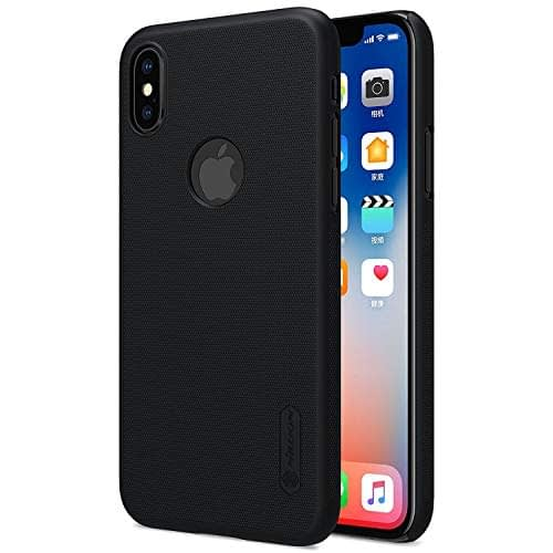 "Nillkin Case for Apple iPhone Xs (5.8"" Inch) Super Frosted Hard Back Cover Hard PC with Logo Cutout Black Color 1"