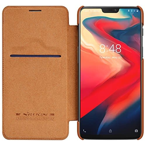Nillkin Classic Leather Flip Folio Case With Smart Sleep For One Plus 6 (Brown) 1