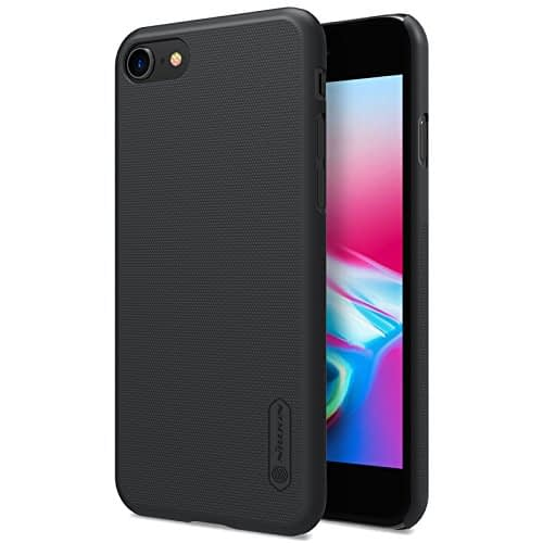 """Nillkin Combo Pack of Frosted Shield Matte Hard Back Cover Case & Screen Protector for Apple iPhone 8 4.7"""" without Logo Hole (Black) 1"""