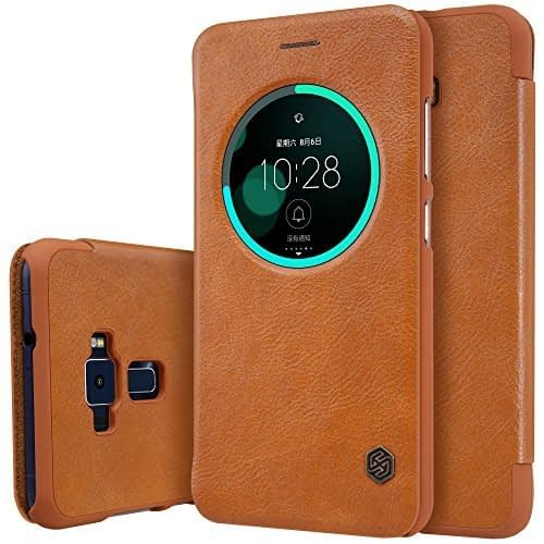 Nillkin Qin Circle Smart Window & Sleep Function Leather Flip Cover Case For Asus Zenfone 3 ( Ze552Kl ) ( 5.5 Inch Display ) - Brown 1