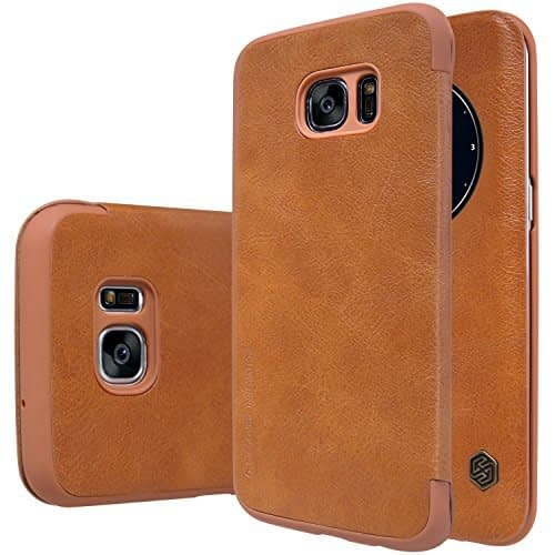 "Nillkin Qin Display Series Smart Window & Sleep Function ( through App ) Leather Flip Cover Case for Samaung Galaxy S7 Edge ( G9350/G935A/G935F(5.5"") ) - Brown 1"