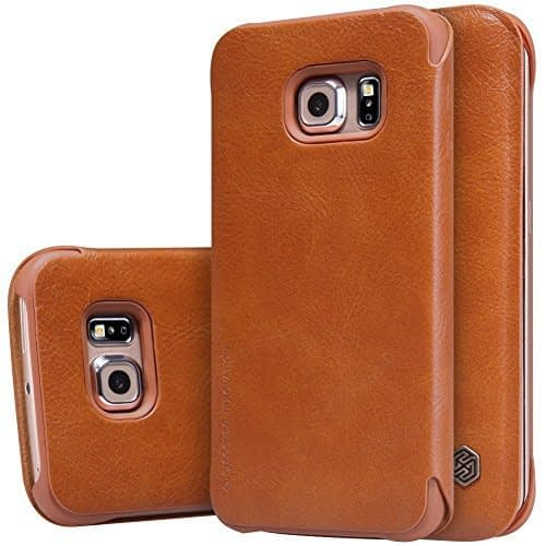 Nillkin Qin Series Elegant Leather Shell Flip Cover For Samsung Galaxy S6 Edge - Brown 1