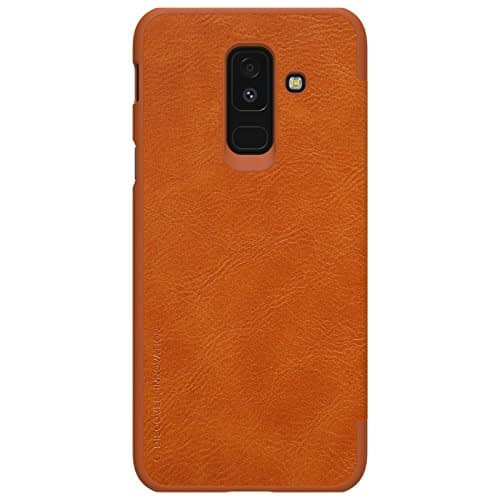 Nillkin Qin Series Leather Flip Case Cover for Samsung Galaxy A6 Plus (2018 Model ) - Brown 4