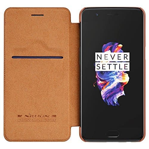 Nillkin Qin Series Royal Leather Flip Case Cover Case For Oneplus 5 - Brown 1