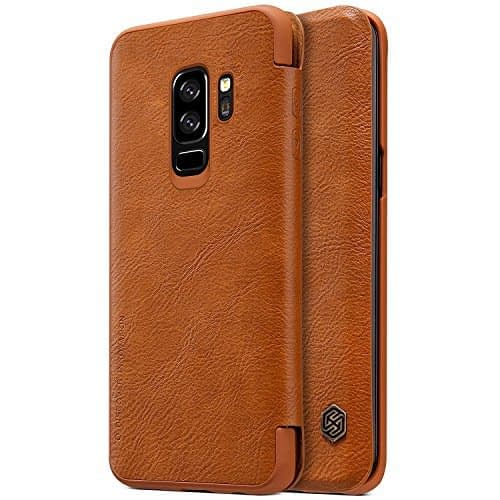Nillkin Qin Series Royal Leather Flip Case Cover for Samsung Galaxy S9 Plus (BROWN) 1