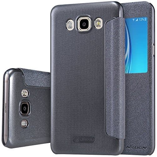 Nillkin Sparkle Series Window Leather Flip Case Cover for Samsung Galaxy J7 (2016) - Grey 1