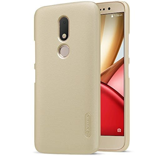 Nillkin Super Frosted Shield Hard Back Cover Case for Motorola Moto M ( Gold Color ), Free Screen guard 1
