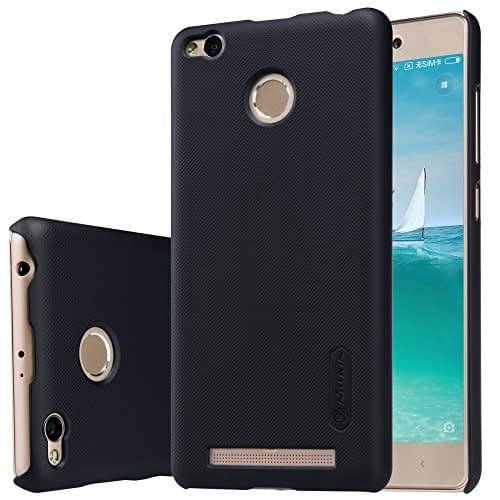 Nillkin Super Frosted Shield Hard Back Cover Case for Xiaomi Redmi 3s Prime ( Black Color ), Free Screen guard 1