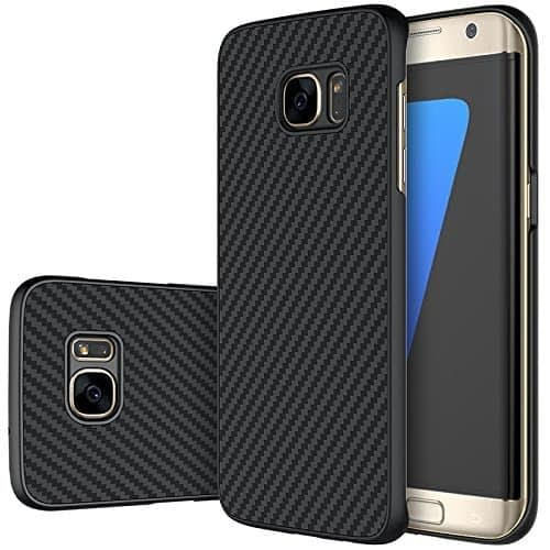 Nillkin Synthetic Fiber Carbon Material Clear Texured Unique Style Back Case Cover for Samsung Galaxy S7 Edge -Black 1