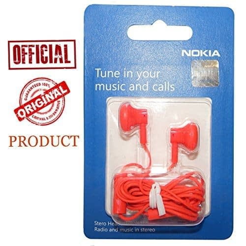 Nokia Original Genuine Nokia Wh-108 Red Color In The Ear Headset Hands free Universal For Samsung Nokia Blackberry Lava LG HTC Karbonn Micromax 1