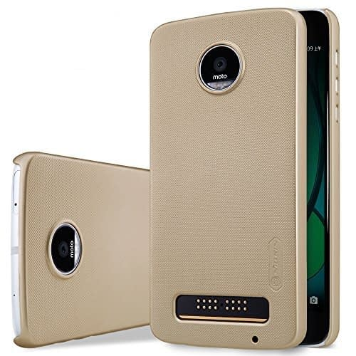 Original Nillkin Frosted Shield Hard Plastic Back Cover Case for Motorola Moto Z Play ( Gold Color ) + Free Nillkin Screen Guard 1