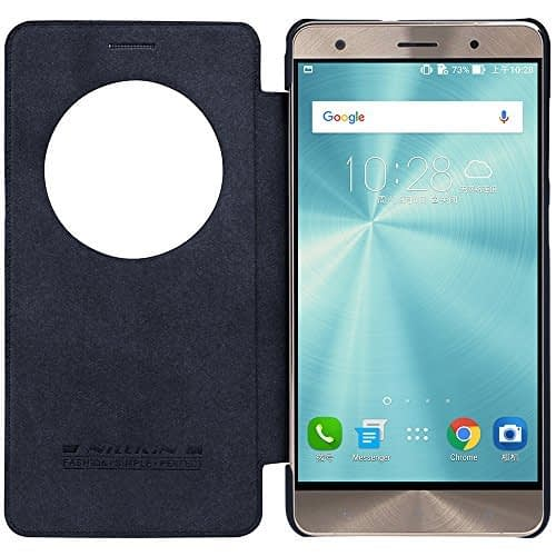 Original Nillkin Qin Circle Smart Window & Sleep Function Leather Flip Cover Case for Asus Zenfone 3 Deluxe ( ZS570KL ) ( 5.7 inch Display ) - Black Color 1