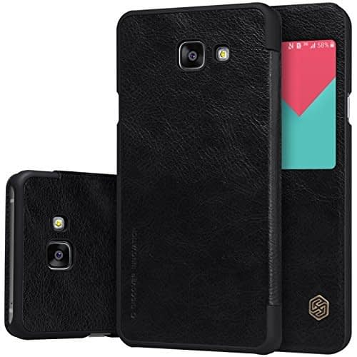 Original Nillkin [ for Samsung Galaxy A7 (6) 2016 ] Qin Series Leather Flip Case Cover for Samsung A7 (6) 2016 ( Black Color ) 1