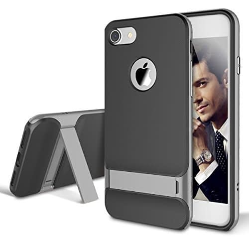 Original Rock Royce KickStand Case Ultra Thin Shock Proof Dual layer Back Cover Case for Apple iPhone 7 4.7inch (Grey) 1