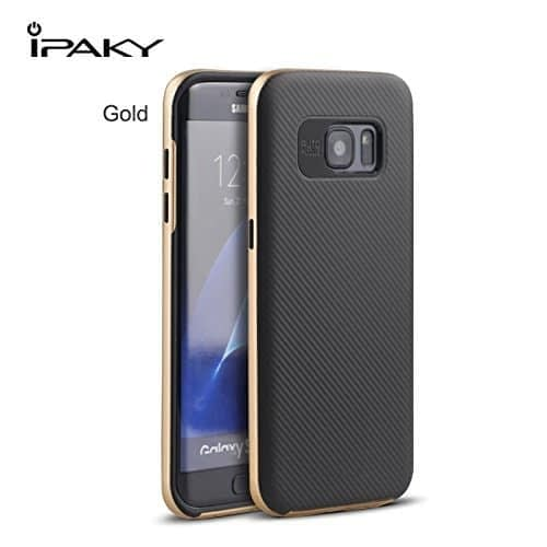 Original iPaky Brand Luxury High Quality Ultra-Thin Dotted Silicon Back + PC Gold Frame Bumper Back Case Cover for Samsung Galaxy S7 Edge - Gold 1