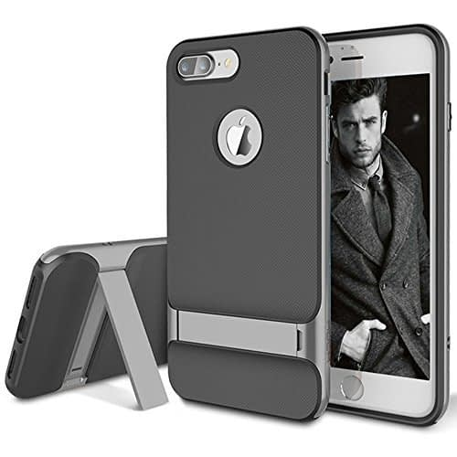 """ROCK Royce Kickstand Series Shockproof Dual Layer Back Case Cover with Stand for Apple iPhone 7 Plus [5.5""""] - Grey 1"""