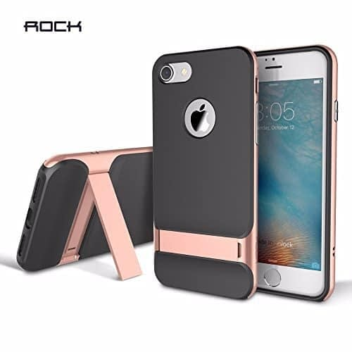 ROCK Royce Kickstand Series Shockproof Dual Layer Back Case Cover with Stand for Apple iPhone 7 - Rose Gold 1