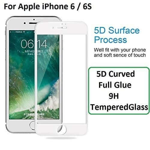 """Royal Star 5D Curved 9H Full Coverage Edge to Edge Screen Tempered Glass Protector Guard For Apple iPhone 6 / 6S ( 4.7"""" ) - White Color 1"""