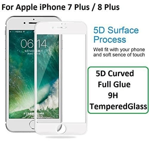 """Royal Star 5D Curved 9H Full Coverage Edge to Edge Screen Tempered Glass Protector Guard For Apple iPhone 7 Plus / 8 Plus ( 5.5"""" ) - White Color 1"""