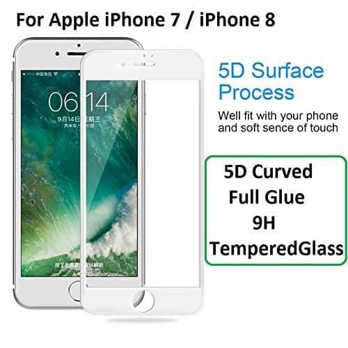 """Royal Star 5D Curved 9H Full Coverage Edge to Edge Screen Tempered Glass Screen Guard For Apple iPhone 7 / iPhone 8 ( 4.7"""" ) - White Color 1"""