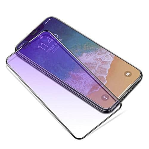 """Royal Star 9D Curved (Anti-Blue Ray) 9H Full Coverage Screen Tempered Glass Protector Guard for Apple iPhone Xs Max (6.5"""") (Black (Anti-Blue Light)) 1"""