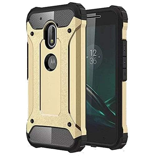 Royal Star Dual Layer Armor Neo-Hybrid Shock-Proof Back Case Cover for (Motorola Moto G4 Plus, Gold) 1