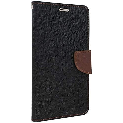 Royal Star Full Protection Fancy Diary Card Wallet Stand View Flip Case Back Cover for (Micromax Bolt Q324, Black Brown) 1