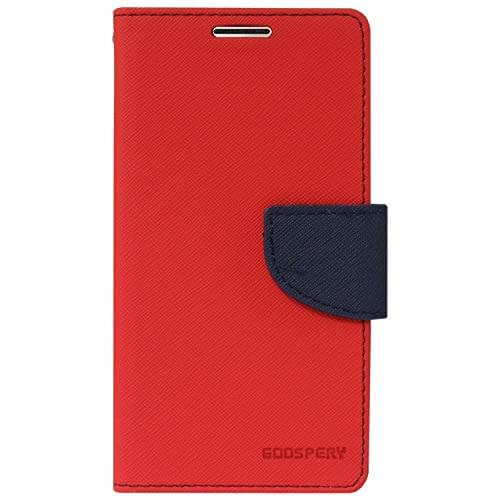 Royal Star Full Protection Fancy Diary Card Wallet Stand View Flip Case Back Cover for (Micromax Bolt Q324, Red) 1