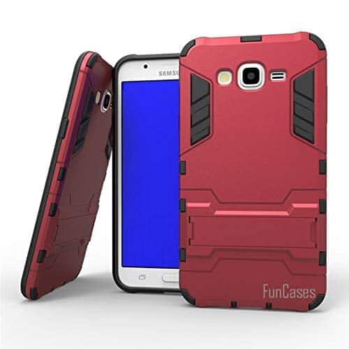 Royal Star Graphic Kickstand Hard Dual Rugged Armor Hybrid Bumper Back Cover Case for (Samsung Galaxy J5 (2015 Model), Red) 1