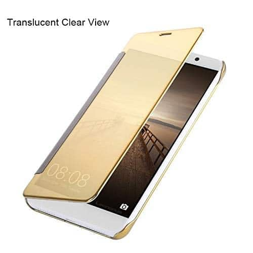 Royal Star Luxury Clear View Mirror Flip Smart Cover Case for (Samsung Galaxy S8, Gold) 6