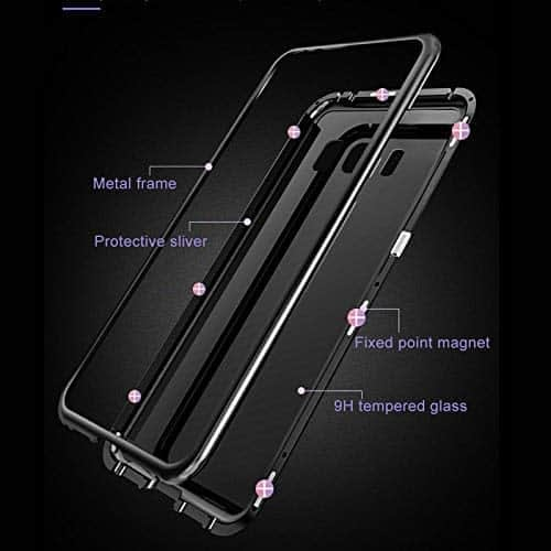 Royal Star Luxury Slim Magnetic Flip with Metal Frame & Back Side Transparent Tempered Glass Back, Built-in Powerful Magnet Flip Back Cover Case for (Samsung Galaxy S8 Plus, Black) 4