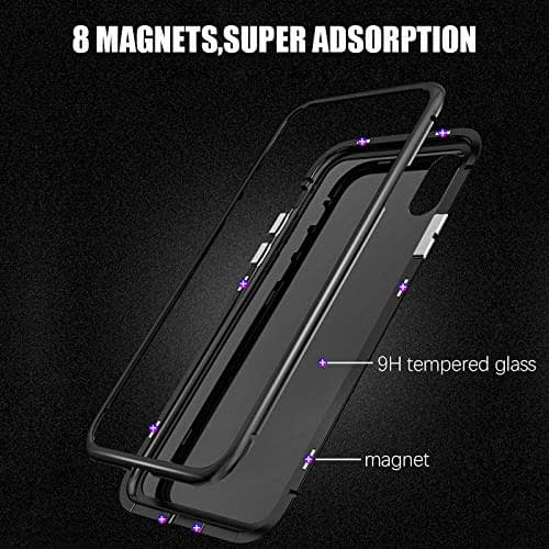 "Royal Star Luxury Slim Magnetic Flip with Metal Frame & Back Side Transparent Tempered Glass Back, Built-in Powerful Magnet Flip Back Cover Case for (Apple iPhone X/XS (5.8""), Black) 7"