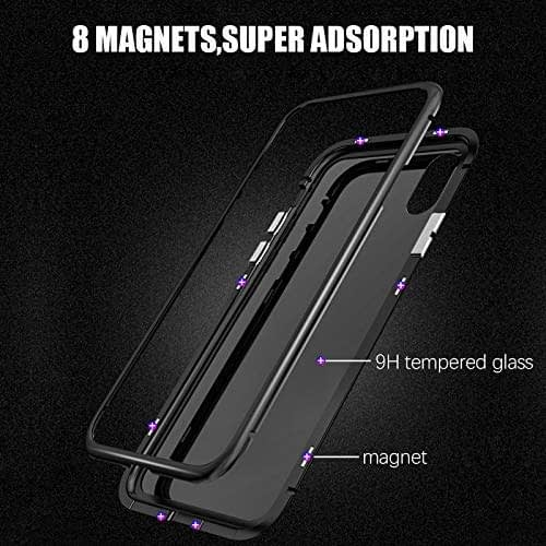 """Royal Star Luxury Slim Magnetic Flip with Metal Frame & Back Side Transparent Tempered Glass Back, Built-in Powerful Magnet Flip Back Cover Case for (Apple iPhone Xs Max (6.5""""), Black) 7"""