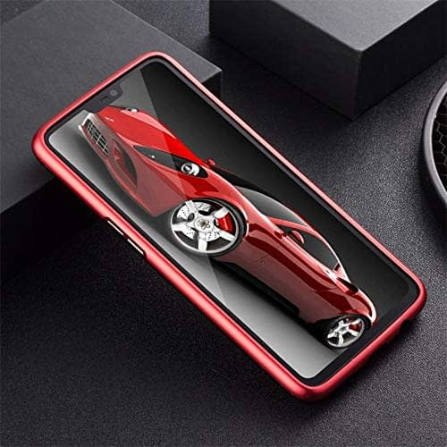 Royal Star Luxury Slim Magnetic Flip with Metal Frame & Back Side Transparent Tempered Glass Back, Built-in Powerful Magnet Flip Back Cover Case for (OnePlus 6T, Red) 6