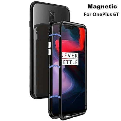 Royal Star Luxury Slim Magnetic Flip with Metal Frame & Back Side Transparent Tempered Glass Back, Built-in Powerful Magnet Flip Back Cover Case for (OnePlus 6T, Black) 3
