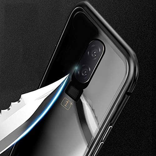 Royal Star Luxury Slim Magnetic Flip with Metal Frame & Back Side Transparent Tempered Glass Back, Built-in Powerful Magnet Flip Back Cover Case for (OnePlus 6T, Black) 5