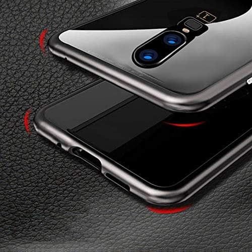 Royal Star Luxury Slim Magnetic Flip with Metal Frame & Back Side Transparent Tempered Glass Back, Built-in Powerful Magnet Flip Back Cover Case for (OnePlus 6T, Black) 9
