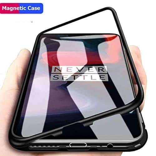 Royal Star Luxury Slim Magnetic Flip with Metal Frame & Back Side Transparent Tempered Glass Back, Built-in Powerful Magnet Flip Back Cover Case for (OnePlus 6T, Black) 1