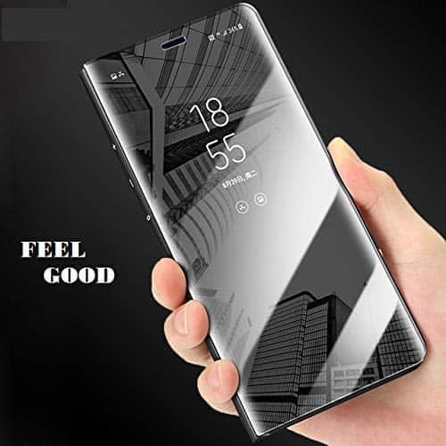 Royal Star Luxury Smart Semi Clear View Electroplate Plating Mirror Acrylic Full Body Protective (Inner Soft TPU) Stand Flip Back Case Cover for (Oppo F9 / F9 Pro, Black) 9