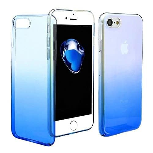 Royal Star Luxury Transparent Glaze Ultra Thin Shockproof Double Colors PC Protective Hard Back Cover Case for Apple iPhone (Apple iPhone 7 / iPhone 8, Blue) 3