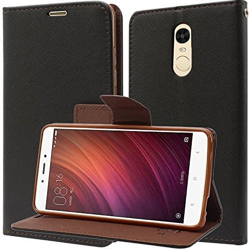 Royal Star Mercury ( For Xiaomi Redmi Redmi Note 4 ) Goospery Fancy Diary CARD Wallet Flip Case Back Cover for Xiaomi Redmi Note 4 - Black+Brown 1