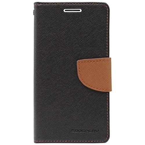 Royal Star Mercury Goospery Fancy Diary CARD Wallet Flip Case Back Cover for Vivo Y21 - Black+Brown 1
