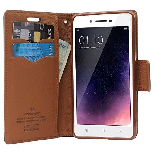 Royal Star Mercury Goospery Fancy Diary CARD Wallet Flip Case Back Cover for Vivo Y55 - Black+Brown 1