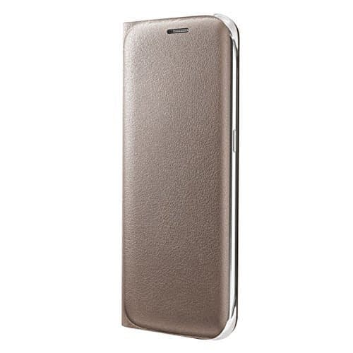 Sumsung Flip Wallet PU Cover for Galaxy S6 Edge (Gold) 5