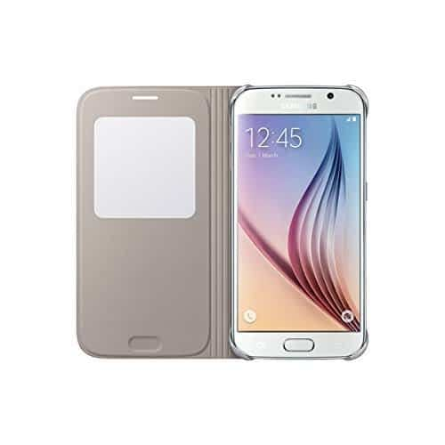 Sumsung S-View PU Cover for Galaxy S6 (Gold) 5
